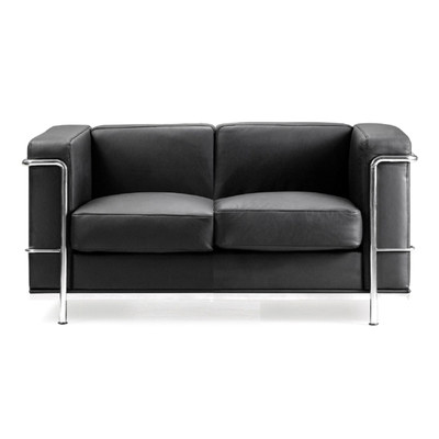 Contemporary+Leather+Faced+Two+Seater+Sofa+with+Chrome+Details+in+Black