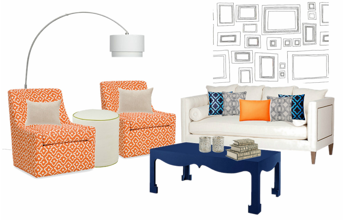 Orange & Blue Interior Inspiration Board #InspirationTuesdays |